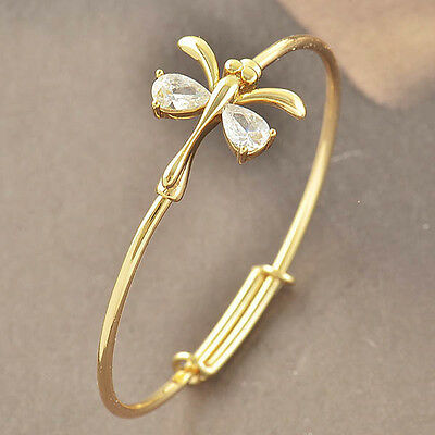 CUTE Children's Yellow Gold Filled  CZ  42mm Dragonfly Bracelet  F3788