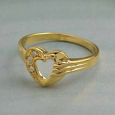 Pretty 9k gold filled CZ sweet heart baby ring,size 5,F2191