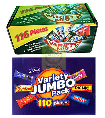 Mars 116 VARIETY MIX+ Cadbury 110 VALUE JUMBO Pack Milk Chocolate Wholesale Box