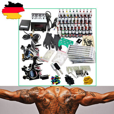 Tattoomaschine Komplett Set Netzgerät 40 Tinte+2 Tattoo Gun Tattoo Machine SALE