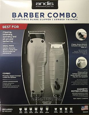 Andis Barber Combo 66325 Clipper (Envy) & Trimmer (T-Outliner) +Attachment Combs