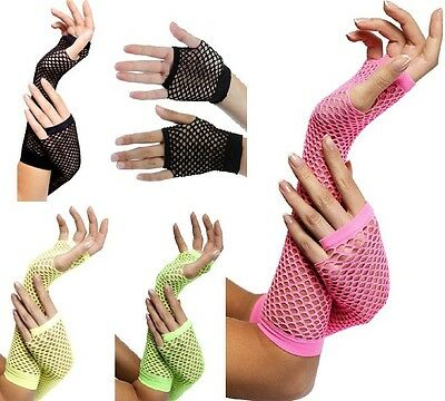80s Fancy Dress Mesh Gloves Fishnet 4 Colours 1980s 80's New by Smiffys