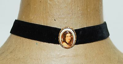 Estate Vintage Signed ART Printed Cameo Black Velvet Choker Necklace 15""