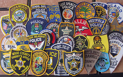 LOT OF 33 POLICE, SHERIFF AND SECURITY PATCHES NEW & OBSOLETE VINTAGE NEW & USED