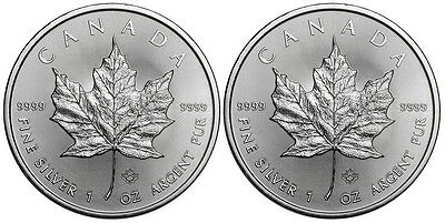 Lot of 2 Coins 2015 1 Troy Oz Canadian Silver Maple Leaf Coin 9999 Fine Silver