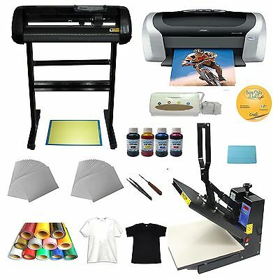 "Heat press 24"" Cutter plotter Printer Ink Paper T-shirt Transfer Start-up Kit"