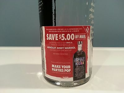 Rare Absolut Vodka Andy Warhol Limited Edition $5 Rebate Bottle Promotion Tag
