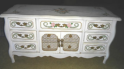 WOODEN JEWELRY MUSIC BOX VINTAGE WHITE ROSES JAPAN 1960'S DOOR HANDLE DRAWERS