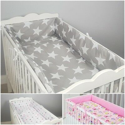3 PCS PIECES BEDDING SETS with  ALL ROUND BUMPER + BED SET  COT / COT BED