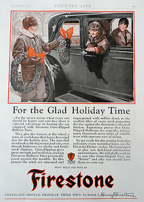 1927 ORIG. PRINT AD FIRESTONE FOR THE GLAD HOLIDAY TIME FULL PAGE AD