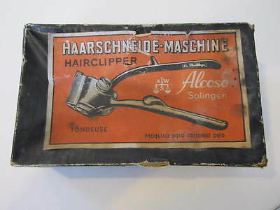 Vtg Solingen Alcoso Manual Hairclipper Machine Made in Germany Boxed Hair Cut