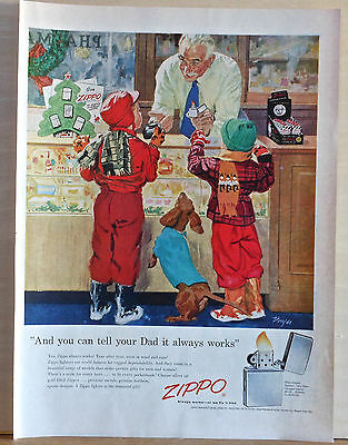 Vintage 1955 magazine ad for Zippo lighters - Dachshund helps pick out present
