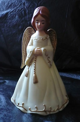 CHARMING VINTAGE HARD PLASTIC ANGEL TREE TOPPER DECORATION IN G.C.