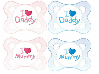 MAM Style 0+ months soother 2pk I Love Mummy & Daddy (Boy, Girl Color)
