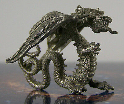Rare Vintage Advancing Dragon w Tongue Out Metal Miniature Fantasy Figure Cute