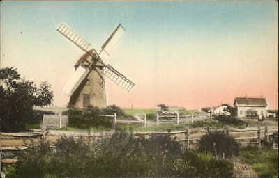 Nantucket MA Windmill Hand Colored Postcard