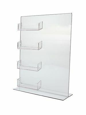 bottom loading 85 x 11 clear acrylic sign frames with 4 business card holders