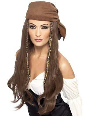 Pirate Caribbean Beaded Wig Brown With Bandana Fancy Dress Costume Accessory