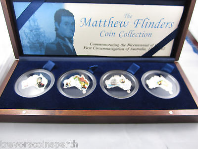 The Matthew Flinders 4 coin MAP SHAPED Silver coloured set.  Bank of Uganda. TOP