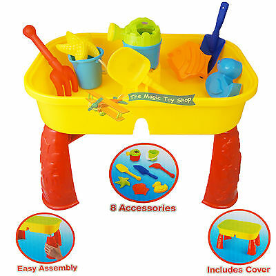 Sand and Water Table Garden Sandpit Play Set Toy Watering Can Spade Sand Bucket