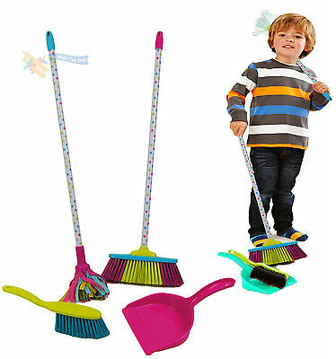 Childrens Kids Cleaning Sweeping Play Set Mop Broom Brush Dustpan Childs Toy
