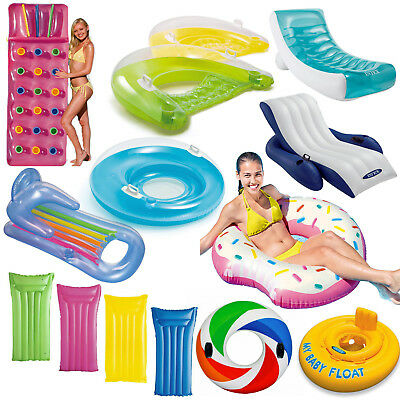 Inflatable Pocket Novelty Lounger Lilo Pool Float Mat Tube Rings Recliner Chair