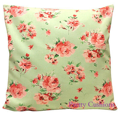 Pretty Mint Green & Pink Floral Vintage Shabby Chic Cushion Cover