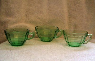 3 Different Vintage Hocking Glass Green Block Optic Cups -