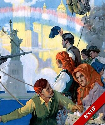 Jewish Immigrants Arriving To America New York Painting Real CanvasArt Print