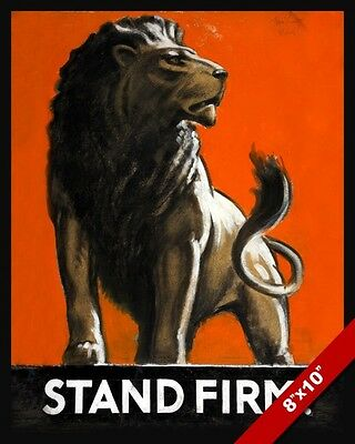 Wwii British Lion Stand Firm Propaganda Poster Painting Real CanvasArt Print