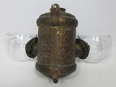 C 1895 Antique Angle Mfg Co. Double Oil Kerosene Leaf & Vine Lamp Wall Mount yqz