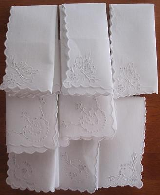 Eight Authentic Vintage Embroidered Linen Table NAPKINS