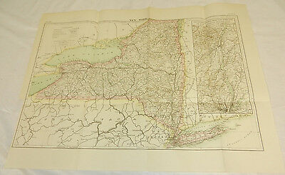 """1883 Antique COLOR Map/  NEW YORK,  15x20.5"""""""
