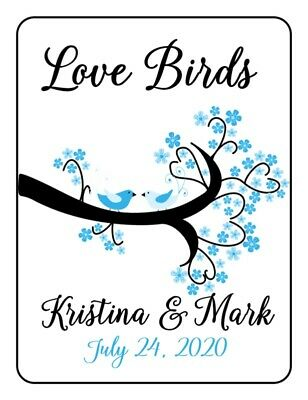 30 Wedding Bridal Shower Love Birds Personalized Tea Bag Labels or Coffee Favors
