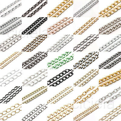 1 Meter Shiny Cut Silver Gold Plated Chunky Aluminium Curb Chain For Necklace
