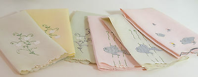 6 Very Charming Linen Towels In Pastel Colors With Applique & Embroidery Pp614