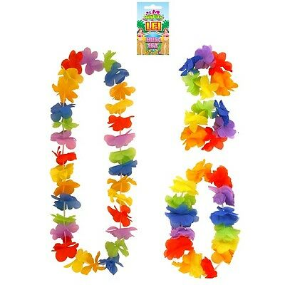 Hawaiian Fancy Dress 4 Piece Lei Garland Set Hawaiin Beach Party Bright Cols Set