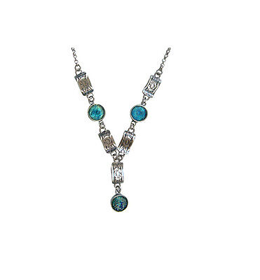 Israeli Jewelry-925 Sterling Silver Ancient Roman Glass Flower Necklace