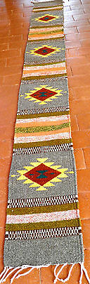 """Zapotec Native Mexican 100%  Wool Hand-Woven Rug 10"""" x 80"""" Table Runner~Browns"""