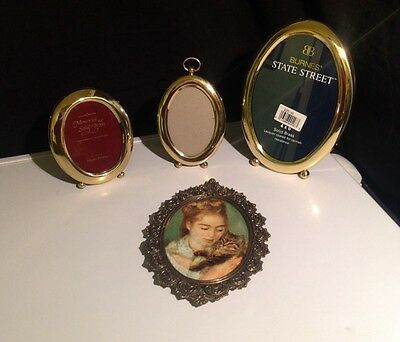 VTG LOT 4 FANCY BRASS/Polish Brass Oval Picture Frames VICTORIAN DECO ANTIQUE