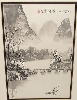 Japanese Watercolor Landscape Bridge River Boat Painting Signed