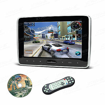 "HDMI 10"" HD Digital LCD Screen Car Headrest Monitor DVD/USB/SD Player IR/FM Game"