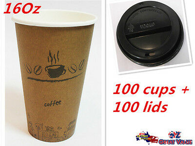 100pcs Quality Paper Coffee Cup with Lid 16Oz | Office Pantry Restaurant Party