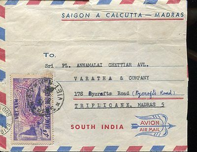 3514 vietnam, circuled cover to india 1956