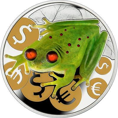 Niue 2015 $2 Money Frog 1 Oz Silver Proof Coin with Amber Inserts