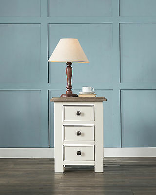 Antique White Painted Chunky Pine Wood 3 Drawer Bedside Cabinet Table Unit