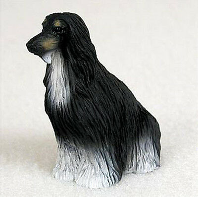 AFGHAN HOUND (BLACK WHITE) TINY ONES DOG Figurine Statue Pet Lovers Resin
