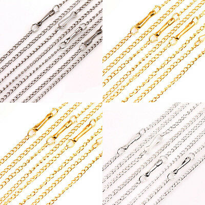 Lots 10/50Pcs Golden/Silver/White K Plated Filigree Metal Chain Necklace 2X1mm