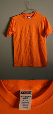 Lot Of 5 Jerzees Adult Small 50/50 Heavyweight Blend Men's Orange T-Shirts New!