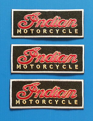 3 Lot INDIAN MOTORCYCLE Easy Embroidered Easy Iron On Patches  W/ FREE SHIPPING